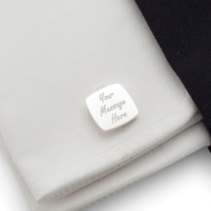 Personalized cufflinks | With Your dedication | Sterling sillver | Available in 10 fonts | ZD.39