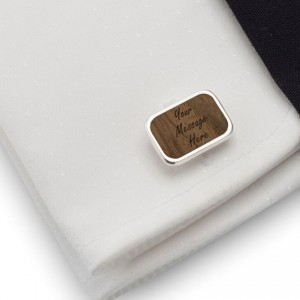 Personalised cufflinks | With Your dedication | Sterling silver | American Walnut | Available in 10 fonts | ZD.64