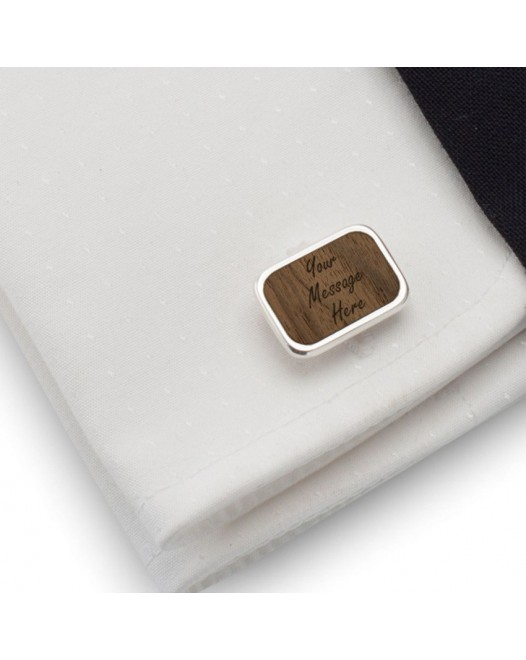 Personalised cufflinks | With Your dedication | Sterling sillver | American Walnut | Available in 10 fonts | ZD.64