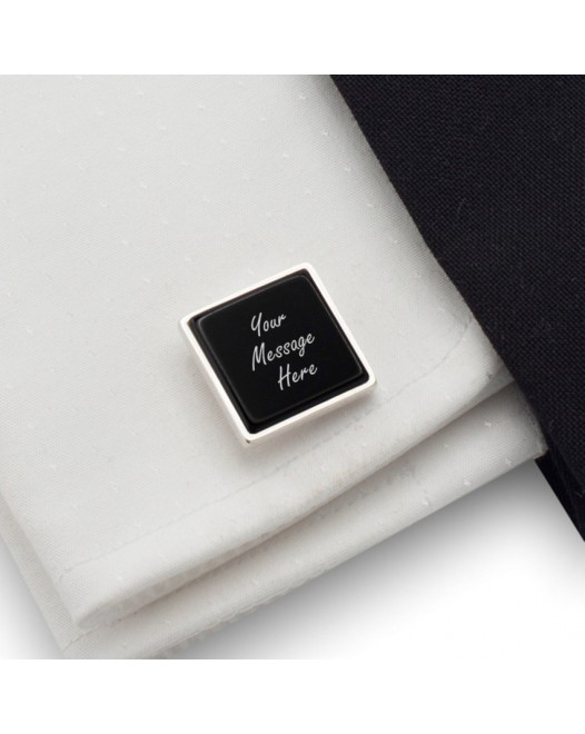Personalized cufflinks | With Your dedication on Onyx stone | Sterling silver | Available in 10 fonts | ZD.71