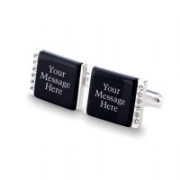 Personalised cufflinks | With Your dedication on Onyx stone | Sterling sillver | 12 Swarovski crystals | Available in 10 fonts | ZD.90