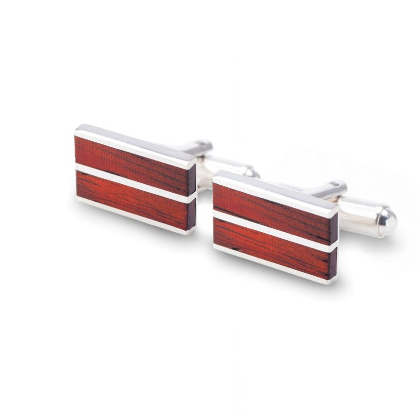 Wood Cufflinks | Sterling silver | Mahogany wood | ZD.16
