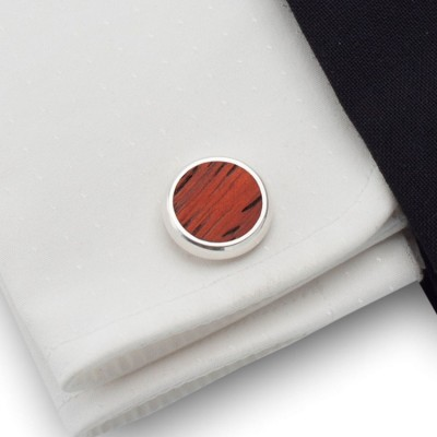 Wood Cufflinks | Sterling silver | Mahogany wood | ZD.10
