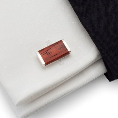 Wood Cufflinks | Sterling silver | Mahogany wood | ZD.11