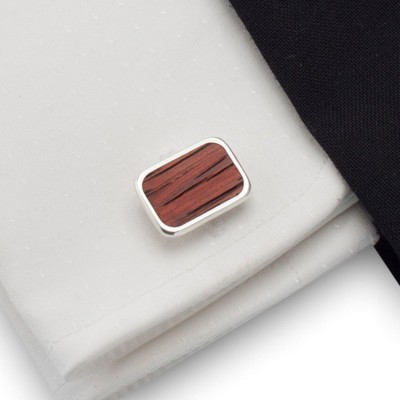 Wood Cufflinks | Sterling silver | Mahogany wood | ZD.18