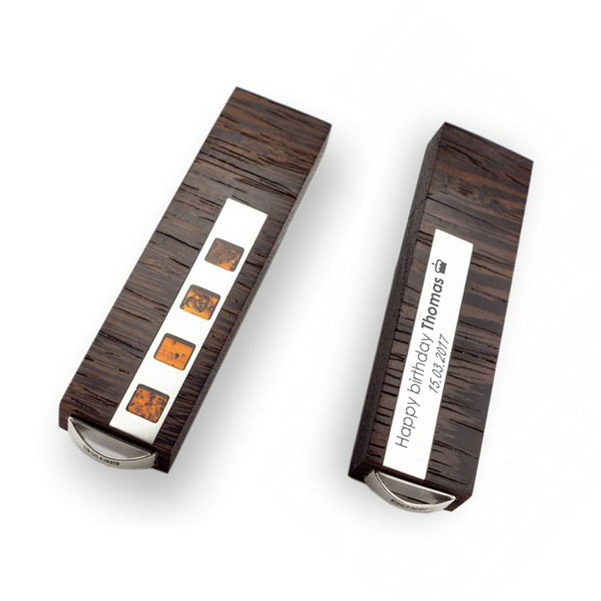 Sterling silver Flash drive | VIP Amber 16GB USB 3.0 | Baltic Amber | Three types of wood