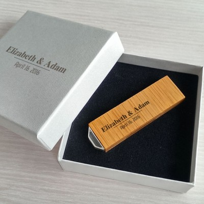 Wedding usb | Bamboo 16GB USB 3.0 | With engraving on flash drive & packaging