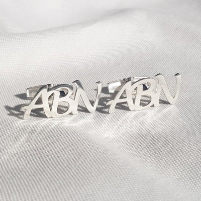Monogram Letter Cufflinks   Three Initials   Sterling silver   Available in 6 fonts   ZD.303