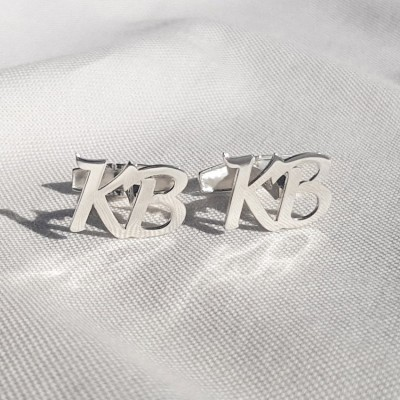 Silver Initial Letter Cufflinks   Two Initial   Sterling silver   Available in 6 fonts   ZD.301