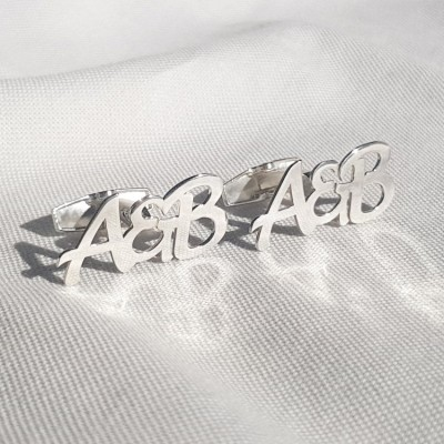 Letter Cufflinks With the initials beloved Woman and Man   Sterling silver   Available in 6 fonts   ZD.304