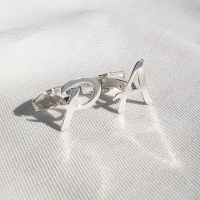 Sterling silver Initial Letter Cufflinks   One initial   Sterling silver   Available in 6 fonts   ZD.300