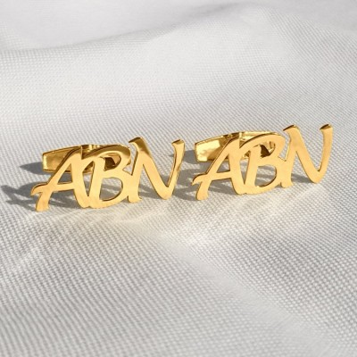 Monogram Gold Letter Cufflinks | Three Initials | Sterling silver 18K gold plated | Available in 6 fonts | ZD.303G