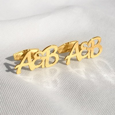 Gold Letter Cufflinks With the initials beloved Woman and Man   Sterling silver 18K gold plated   Available in 6 fonts   ZD.304G