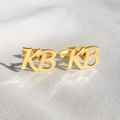 Gold Initial Letter Cufflinks   Two Initial   Sterling silver 18K gold plated   Available in 6 fonts   ZD.301G