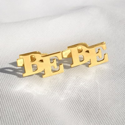 Alphabet Cufflinks Gold   Two Initial   Sterling silver 18K gold plated   Available in 6 fonts   ZD.302G