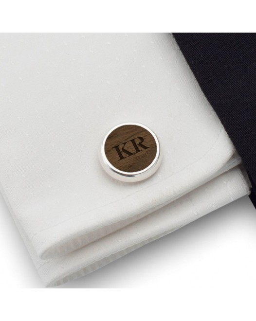 Initials cufflinks | Sterling silver | American Walnut | Available in 10 fonts | ZD.51