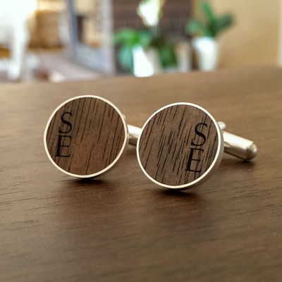 Custom wood cufflinks | Sterling silver | American Walnut | Available in 10 fonts | ZD.55-1