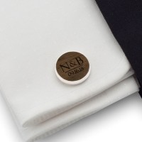 Custom wood cufflinks | Initials and Date | Sterling silver | American Walnut | ZD.55-4