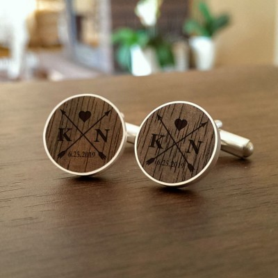 Custom wedding arrow cufflinks | Initials and Date | Sterling silver | American Walnut | ZD.55-5