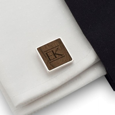 Personalized wooden square cufflinks | Sterling silver | American Walnut | Available in 10 fonts | ZD.182
