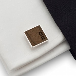 Wooden square cufflinks | Sterling silver | American Walnut | Available in 10 fonts | ZD.180