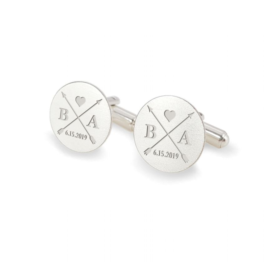 Personalized rund wedding cufflinks | With the Bride and Groom's initials and wedding date | Sterling sillver | ZD.171
