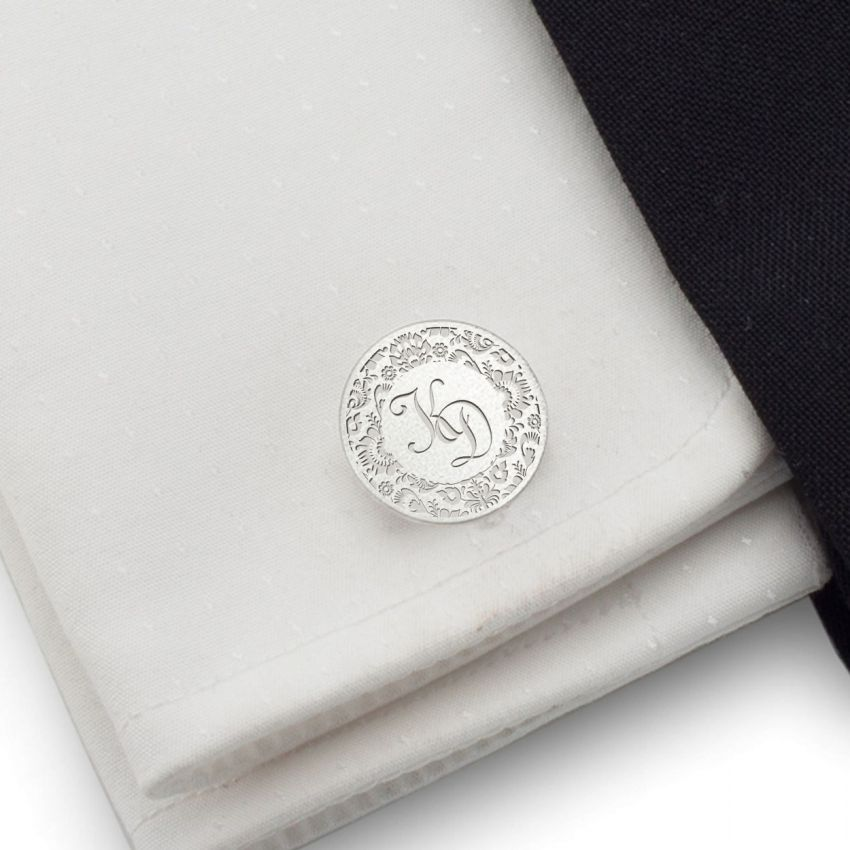 Folk engraved cufflinks | Sterling sillver | Available in 10 fonts | ZD.163