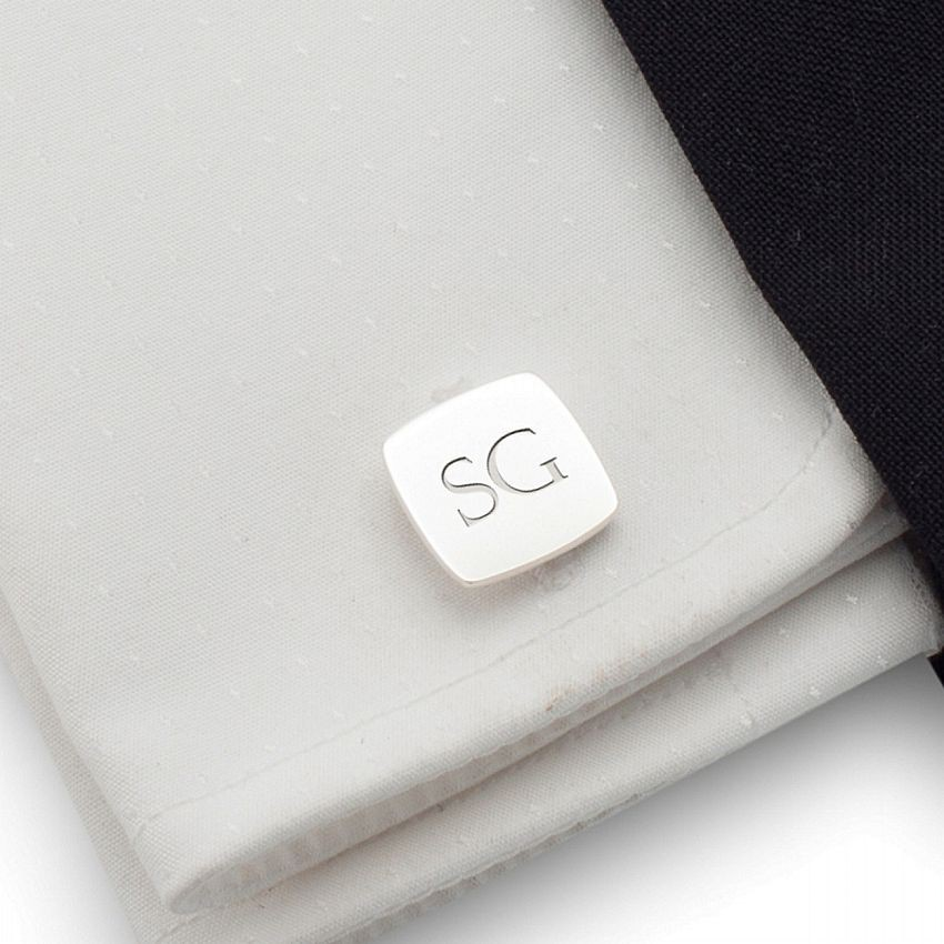 Sterling silver cufflinks with initials | Sterling silver | Available in 10 fonts | ZD.96
