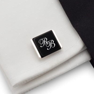 Personalized Cufflinks with engraving Initials on onyx gemstone | Sterling silver | Available in 10 fonts | ZD.208