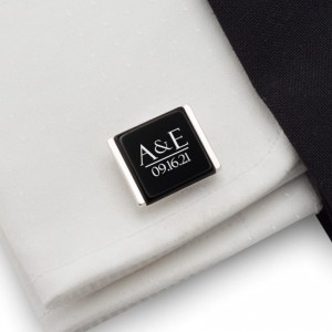 Personalized Groom wedding cufflinks   With the initials and date of the wedding or anniversary   Sterling silver   ZD.202