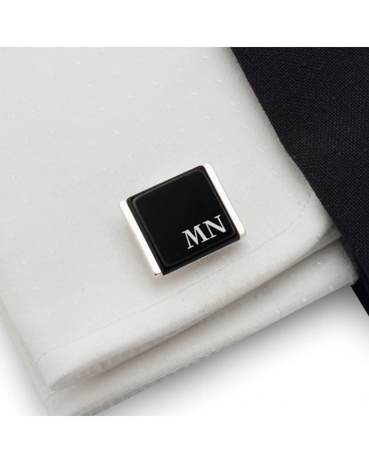 Initials cufflinks on Onyx stone | Sterling sillver | Available in 10 fonts | ZD.90
