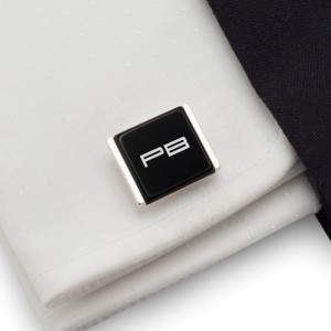 Initials cufflinks on Onyx stone | Sterling sillver | Available in 10 fonts | ZD.75