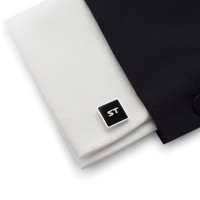 Cufflinks with engraved Initials on onyx gemstone   Sterling silver   Available in 10 fonts   ZD.67