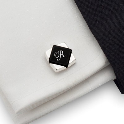 Monogram cufflinks on Onyx stone | Sterling sillver | Available in 10 fonts | ZD.101