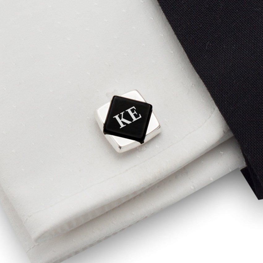 Initials cufflinks on Onyx stone | Sterling sillver | Available in 10 fonts | ZD.100
