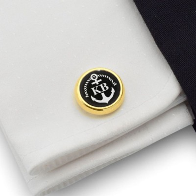 Gold Anchor cufflinks | With Your initials nad date engraved on the Onyx stone | Sterling sillver gold plated | Available in 14 ikons | ZD.160Gold
