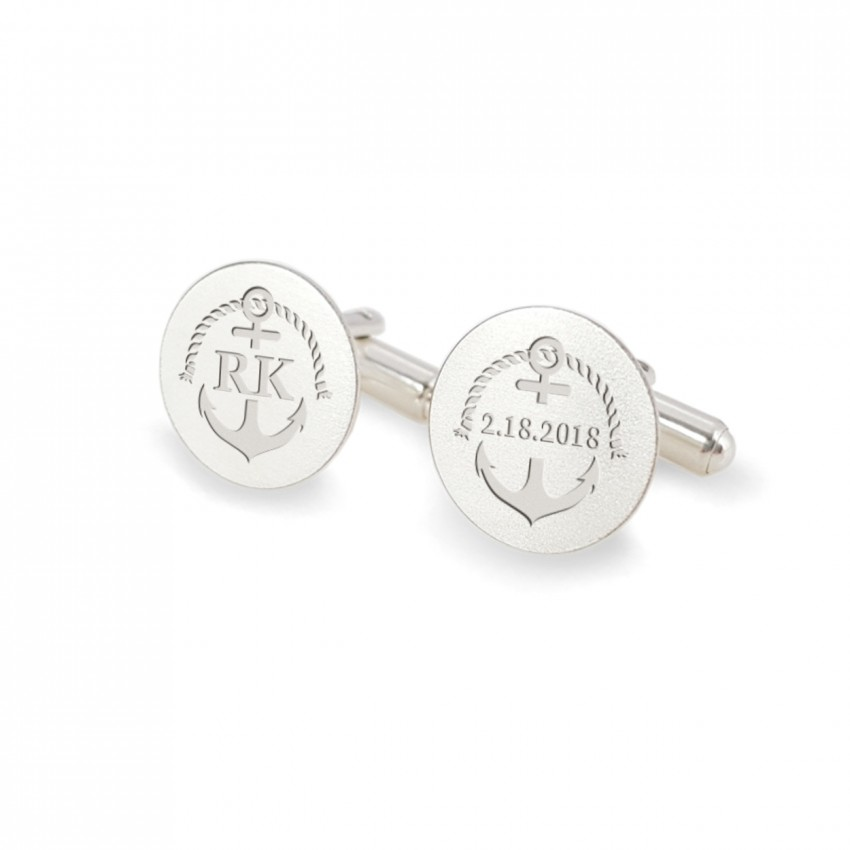 Anchor Marine Cufflinks | With Your initials and date | Sterling silver | Available in 14 ikons | ZD.165