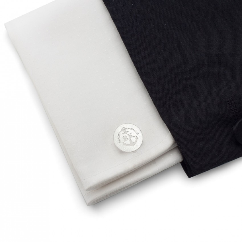 Anchor Marine Cufflinks   With Your initials nad date   Sterling sillver   Available in 14 ikons   ZD.165