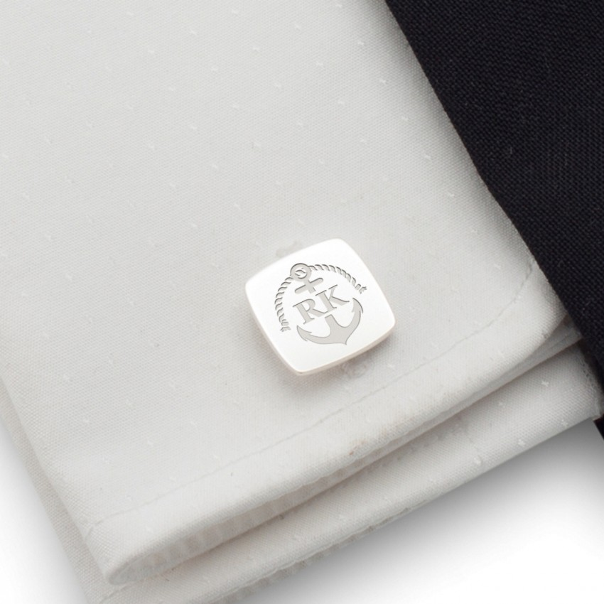 Anchor Marine Cufflinks | With Your initials and date | Sterling silver | Available in 14 ikons | ZD.164