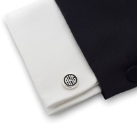 Black monogram cufflinks on Onyx stone | Sterling silver | ZD.109