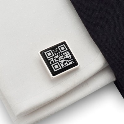 QR code cufflinks | Your secret message | Sterling sillver | Onyx | ZD.66