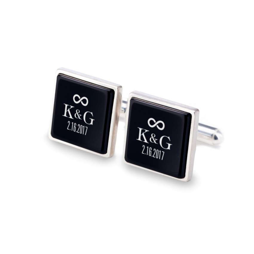 Wedding personalized cufflinks | With the Bride and Groom's initials and wedding date | Sterling sillver | Onyx stone | ZD.93