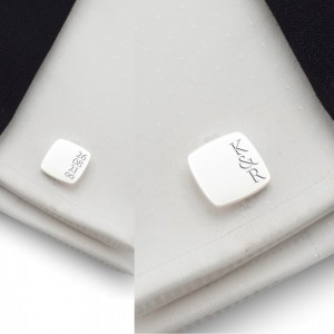 Custom silver cufflinks   With the initials and date of the wedding or anniversary   Sterling silver   ZD.190