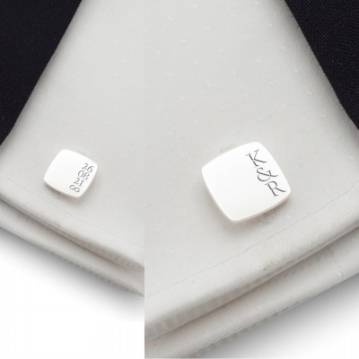 Custom silver cufflinks | With the initials and date of the wedding or anniversary | Sterling silver | ZD.190