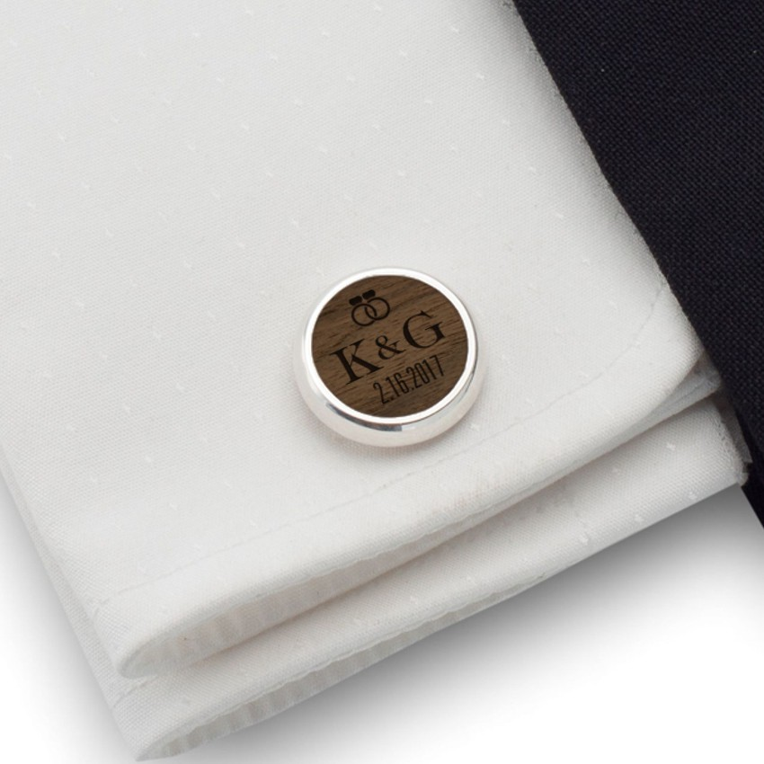 Wedding personalized cufflinks | With the Bride and Groom's initials and wedding date | Sterling silver | American Walnut | ZD.92