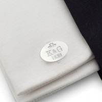 Silver cufflinks for the wedding with engraving | With the Bride and Groom's initials and wedding date | Sterling sillver | ZD.147