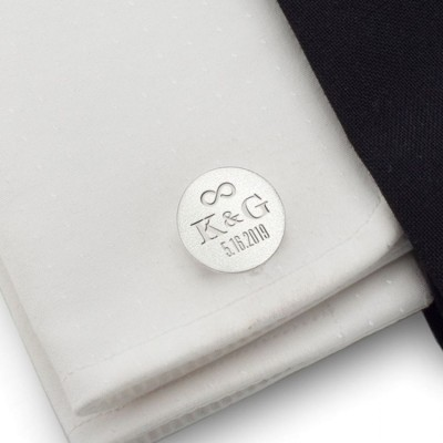Silver wedding cufflinks | With the Bride and Groom's initials and wedding date | Sterling silver | ZD.138