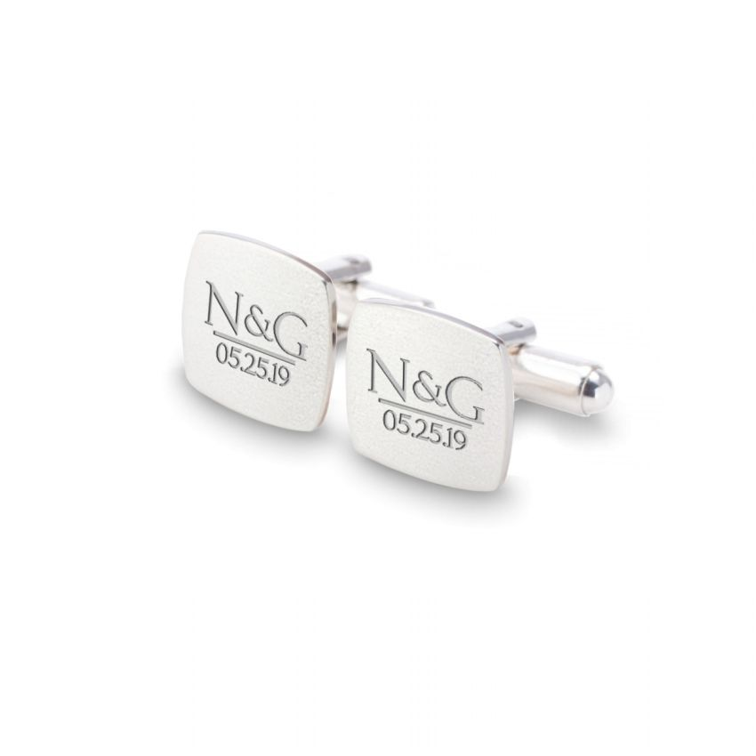 Silver custom cufflinks | With the initials and date of the wedding or anniversary | Sterling silver | ZD.172