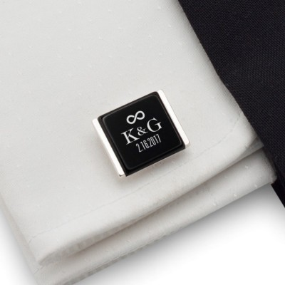 Wedding personalized cufflinks | With the Bride and Groom's initials and wedding date | Sterling sillver | Onyx stone | ZD.94