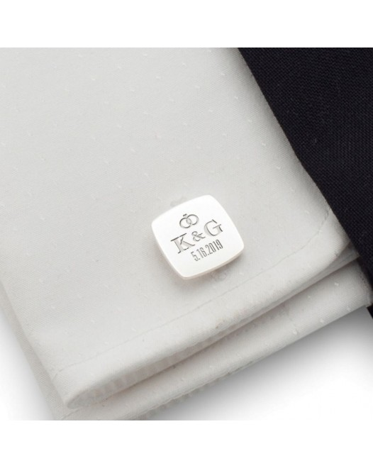 Silver wedding cufflinks | With the Bride and Groom's initials and wedding date | Sterling silver | ZD.95